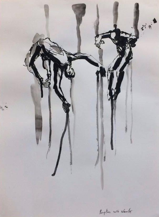 Œuvre de Saïd Bouftass exposée lors de sa résidence à la Maison de quartier des Dervallières, à Nantes.